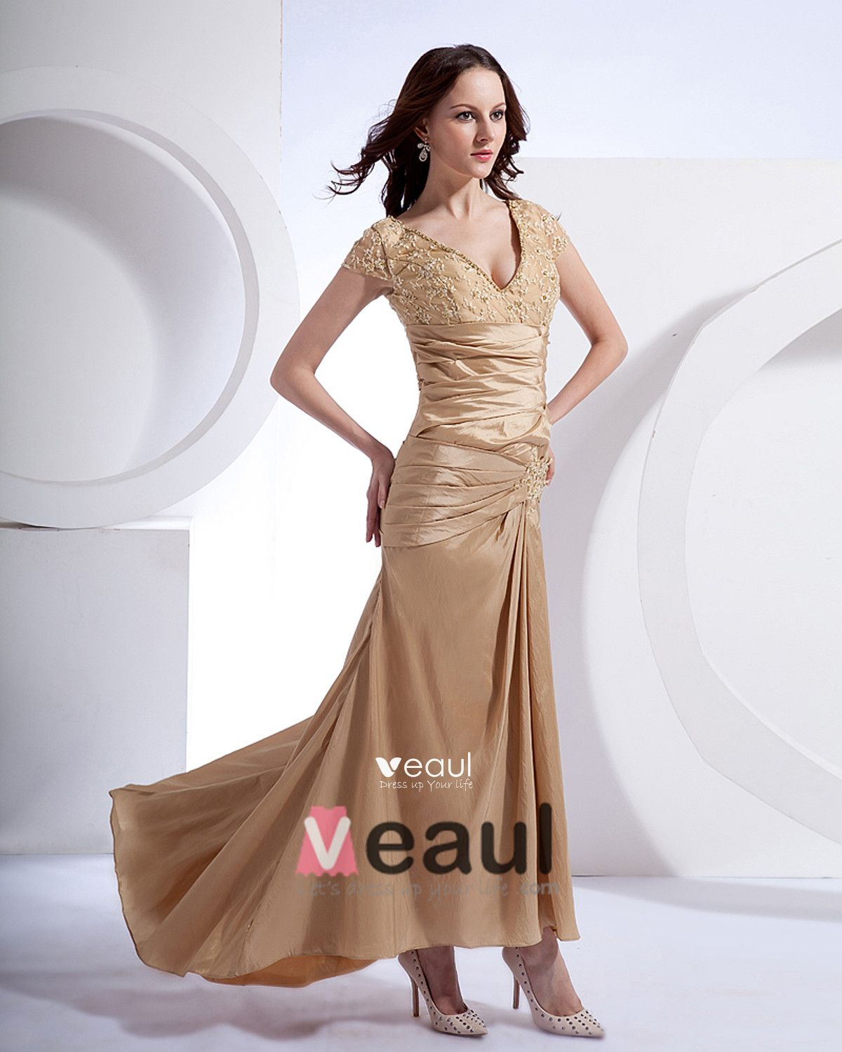 Absorbing V-Neck Floor Length Taffeta Applique Beading Mothers of Bride Special Guests Dress