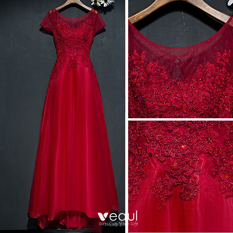 Chic / Beautiful Red Formal Dresses Evening Dresses  2017 Lace Flower Sequins Pearl Scoop Neck Short Sleeve A-Line / Princess