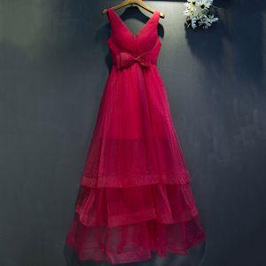 Piękne Czerwone Sukienki Wizytowe Princessa Kokarda V-Szyja Bez Rękawów Długość Kostki 2017 Sukienki Na Bal