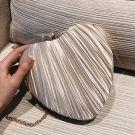 Chic / Beautiful Champagne Heart-shaped Clutch Bags Ruffle Fabric 2019 Accessories