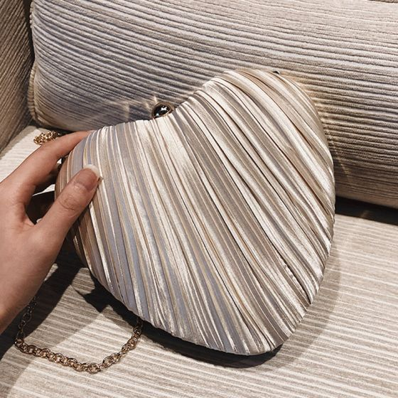 Chic / Beautiful Champagne Heart-shaped Clutch Bags Ruffle Fabric 2019 Accessories