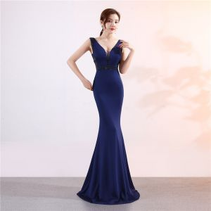 Chic / Beautiful Navy Blue Evening Dresses  2019 Trumpet / Mermaid V-Neck Beading Crystal Sleeveless Backless Floor-Length / Long Formal Dresses