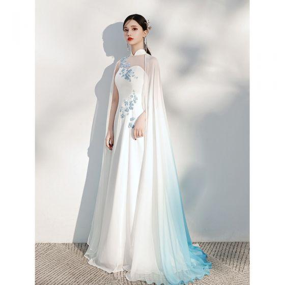 Chinese style Ivory Silk Cheongsam / Qipao Evening Dresses  2021 A-Line / Princess shawl High Neck Lace Flower Sleeveless Floor-Length / Long Formal Dresses