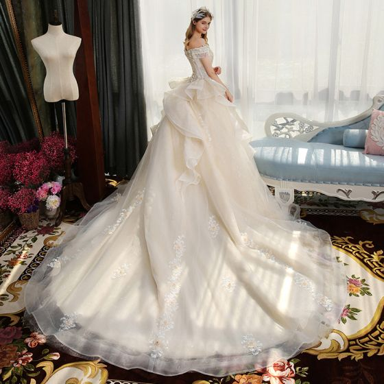 Luxury / Gorgeous Champagne Wedding Dresses 2019 Ball Gown Off-The-Shoulder Short Sleeve Backless Appliques Lace Pearl Beading Tassel Glitter Tulle Cathedral Train Ruffle
