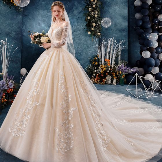 Elegant See-through Champagne Wedding Dresses 2019 Ball Gown Square Neckline Long Sleeve Backless Appliques Lace Beading Cathedral Train Ruffle