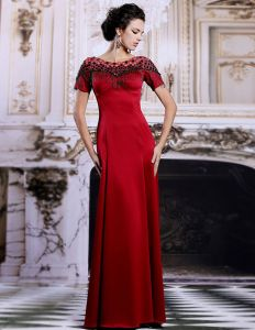 2015 Sheath Tassel Shoulders Long Red Evening Dress