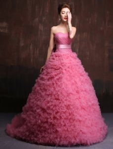 Elegant Prom Dress 2016 Pleated Sweetheart Pink Tulle Formal Dresses With Sash