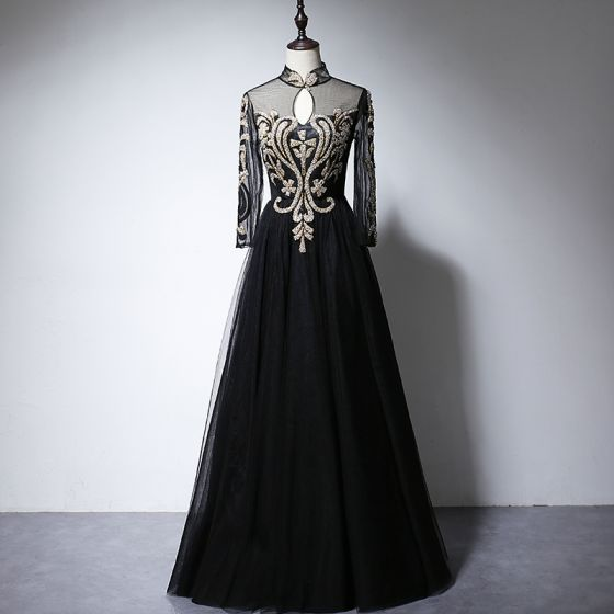 Vintage / Retro Black See-through Evening Dresses  2020 A-Line / Princess High Neck Long Sleeve Appliques Glitter Floor-Length / Long Ruffle Formal Dresses