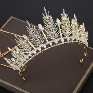 Affordable Gold Tiara Bridal Hair Accessories 2019 Metal Beading Crystal Pearl Rhinestone Wedding Accessories