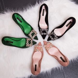 Hermoso Negro 2017 Oficina Charmeuse Rebordear Rhinestone Zapatos De Mujer