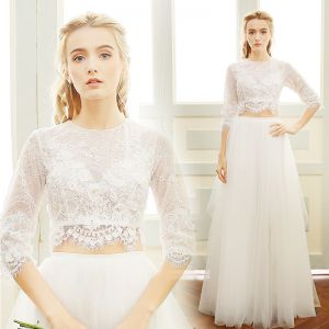 2 Piece Beach Wedding Dresses 2017 White A-Line / Princess Floor-Length / Long Scoop Neck 3/4 Sleeve Pearl Lace Appliques