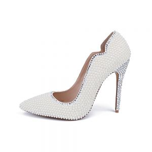 Charming Ivory Pearl Wedding Shoes 2020 Leather Rhinestone 10 cm Stiletto Heels Pointed Toe Wedding Pumps