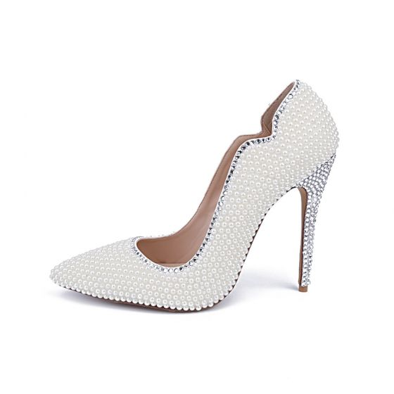 Charming Ivory Pearl Wedding Shoes 2020 Leather Rhinestone 10 cm Stiletto Heels Pointed Toe Wedding Pumps