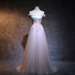 Élégant 2017 Rougissant Rose Robe De Soirée Chiffon Fait main Appliques Princesse Dos Nu Bustier Soirée Robe De Ceremonie