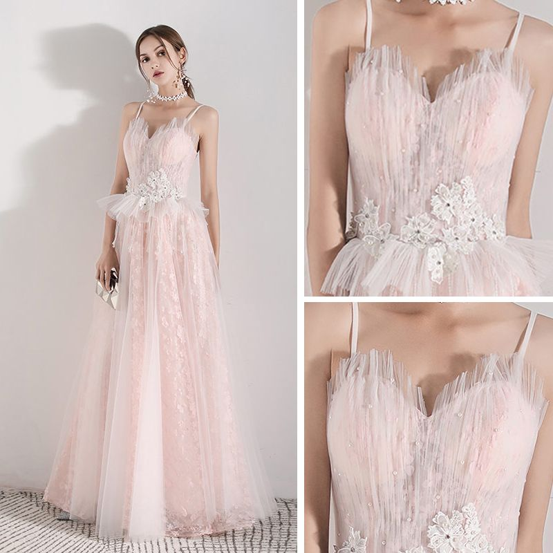 Romantic Pearl Pink Evening Dresses  2019 A-Line / Princess Spaghetti Straps Sleeveless Appliques Flower Pearl Beading Tassel Floor-Length / Long Ruffle Backless Formal Dresses