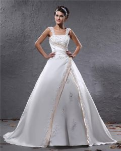 Elegant Satin Applique Beaded Shoulder Straps Floor Length Ball Gown Wedding Dress
