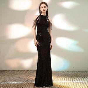 Sparkly Black Sequins Evening Dresses  2020 Trumpet / Mermaid Scoop Neck Sleeveless Beading Floor-Length / Long Formal Dresses
