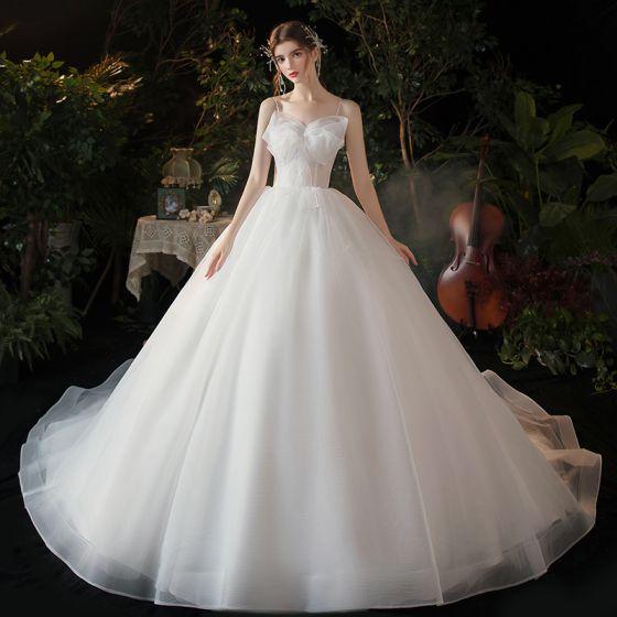 Modest / Simple White Bridal Wedding Dresses 2020 Ball Gown Spaghetti Straps Sleeveless Backless Bow Chapel Train Ruffle