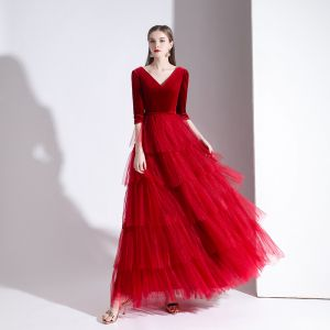 Charming Red Evening Dresses  2020 A-Line / Princess Suede V-Neck 1/2 Sleeves Backless Floor-Length / Long Formal Dresses