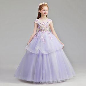Fée Des Fleurs Lavande Robe Ceremonie Fille 2019 Princesse Encolure Dégagée Mancherons Appliques En Dentelle Perle Faux Diamant Longue Volants Robe Pour Mariage