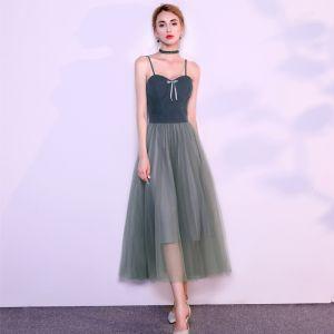 Chic / Beautiful Ink Blue Evening Dresses  2019 A-Line / Princess Spaghetti Straps Bow Sleeveless Backless Tea-length Formal Dresses