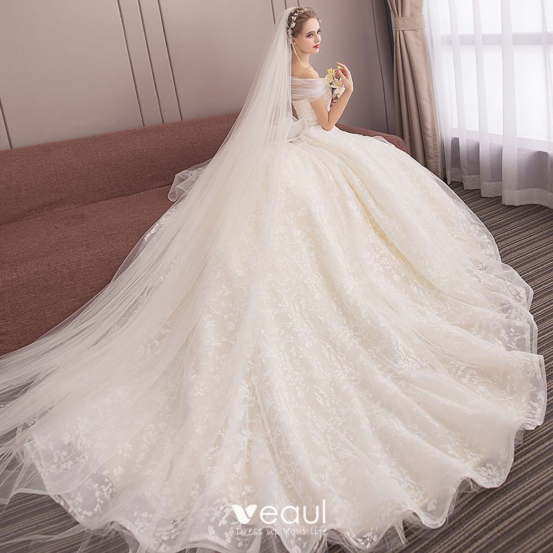 Elegant Champagne Wedding Dresses 2018 Ball Gown Lace Flower Off-The-Shoulder Backless Sleeveless Chapel Train Wedding