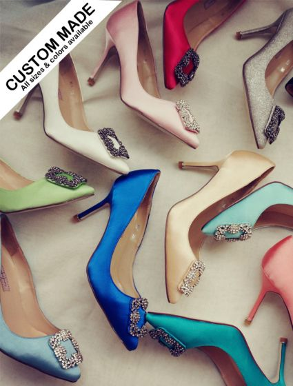 Fashion Custom Made Pointed Toe Shoes Heels With Rhinestones 14 Colors