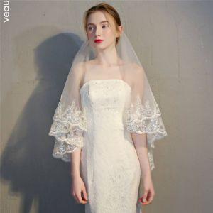 Classic Elegant White Wedding 2018 Tulle Appliques Beading Sequins Wedding Veils