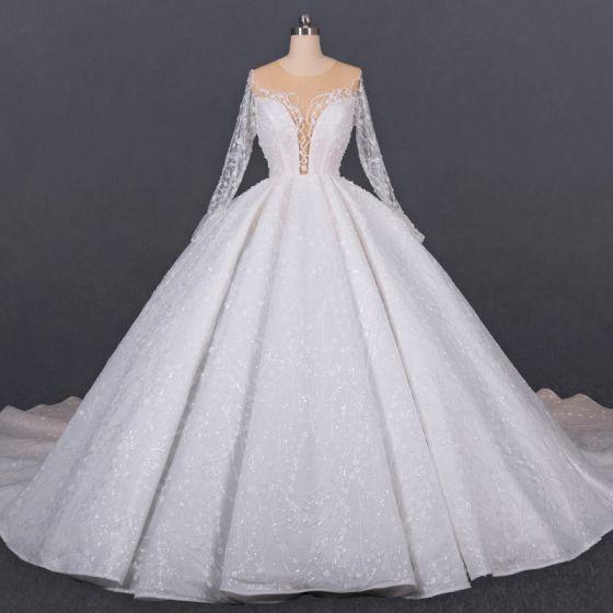 Luxus Ivory Gennemsigtig Bryllups Brudekjoler 2020 Balkjole Scoop Neck Langærmet Håndlavet Beading Glitter Tulle Cathedral Train