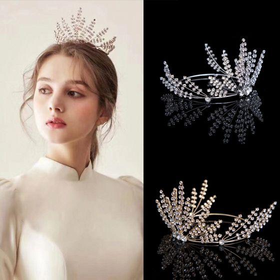 Mooie / Prachtige Rhinestone Tiara Bruids Accessoires 2020 Metaal Bruids Haaraccessoires