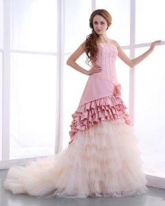 Taffetas Perles Volants Balayage Sirène Robe De Mariée De Mariage De Robe