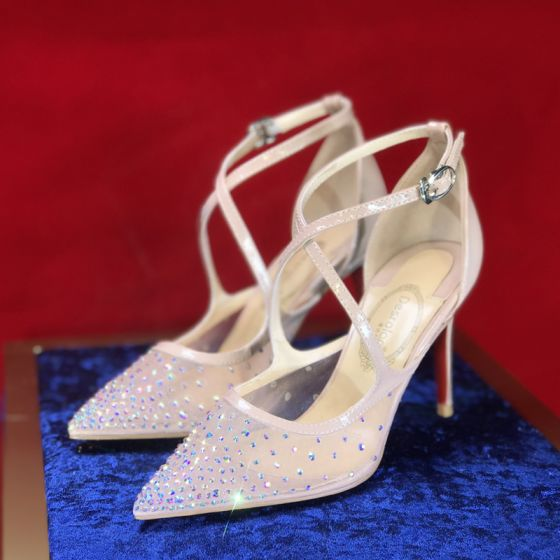 Charming Nude Evening Party Rhinestone Womens Sandals 2020 X-Strap 8 cm Stiletto Heels Pointed Toe Sandals