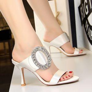 Affordable Ivory Casual Womens Sandals 2019 Rhinestone 8 cm Stiletto Heels Open / Peep Toe Sandals