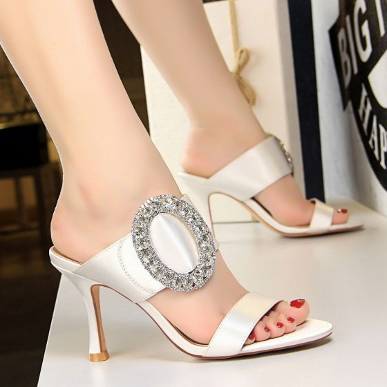Affordable Ivory Casual Womens Sandals 2019 Rhinestone 8 cm Stiletto Heels Open / Peep Toe Sandals