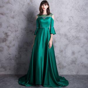 Moda Verde Oscuro Vestidos de noche 2018 A-Line / Princess Scoop Escote 3/4 Ærmer Sin Tirantes Crystal Rhinestone Cinturón Colas De Barrido Sin Espalda Traspasado Vestidos Formales