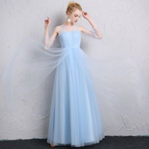 Modest / Simple Sky Blue Bridesmaid Dresses 2018 A-Line / Princess Shoulders Backless Short Sleeve Floor-Length / Long Wedding Party Dresses