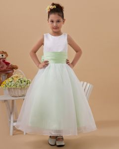 Taffeta Organza Layered Sash Roune Neck Floor Length Flower Girl Dresses