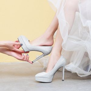 Sparkly Silver Wedding Shoes 2019 Rhinestone 12 cm Stiletto Heels Pointed Toe Wedding Pumps