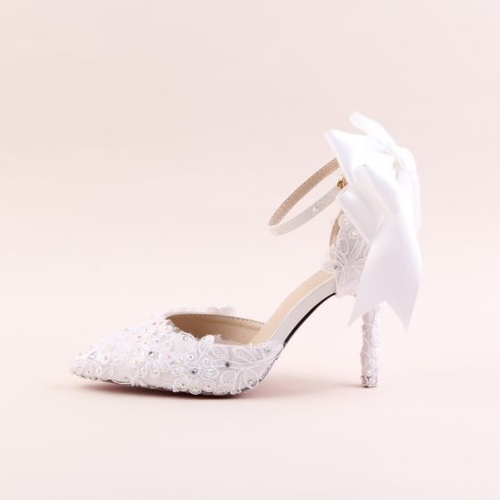 Elegant Elfenben Brudesko 2020 Rhinestone Blonder Blomst Sløyfe 9 cm Stiletthæler Spisse Bryllup Sandaler