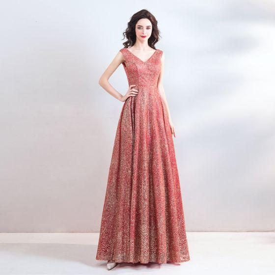653f642c898 Scintillantes Bling Bling Rouge Longue Robe De Soirée 2018 Princesse V-Cou  Tulle Dos Nu Perlage Paillettes ...