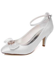 Elegante Trouwschoenen 8 cm Stilettos Pumps Witte Satijnen Bruidsschoenen Met Enkelbandje