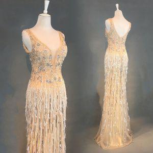 Luxus / Herrlich Champagner Abendkleider 2018 Mermaid Perlenstickerei Quaste U-Ausschnitt Rückenfreies Ärmellos Lange Festliche Kleider