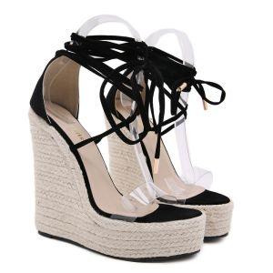 Schöne Schwarz Freizeit Sandalen Damen 2020 Knöchelriemen 15 cm Keilabsatz Plateau Peeptoes Sandaletten
