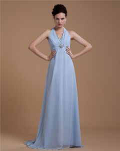 Halter Ruffle Beading Chiffon Floor Length Plus Size Evening Dresses