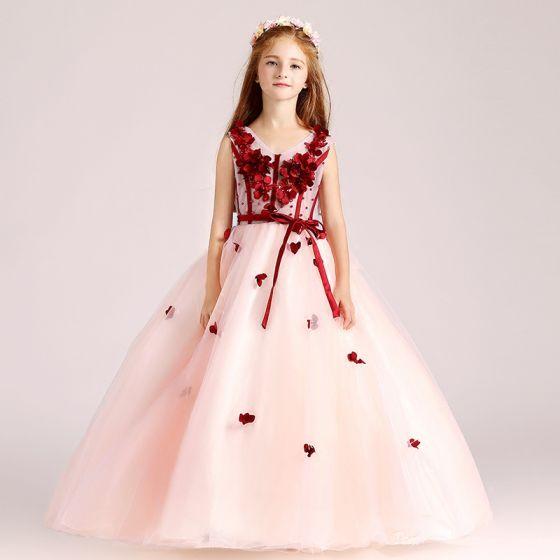 Schöne Pearl Rosa Mädchenkleider 2017 Ballkleid V-Ausschnitt Ärmellos Applikationen Blumen Stoffgürtel Lange Rüschen Kleider Für Hochzeit