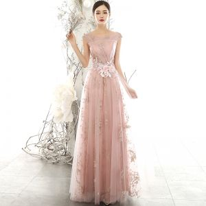 Chic / Beautiful Pearl Pink See-through Evening Dresses  2020 A-Line / Princess Scoop Neck Sleeveless Flower Appliques Lace Beading Pearl Glitter Tulle Floor-Length / Long Backless Formal Dresses