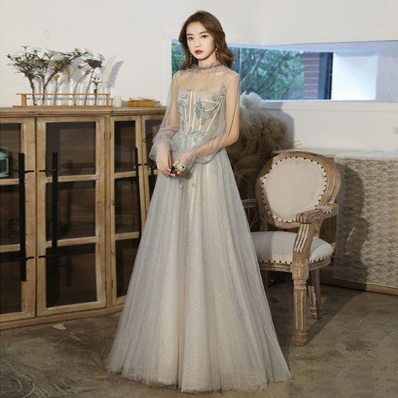Elegant Sage Green See-through Dancing Prom Dresses 2021 A-Line / Princess High Neck Long Sleeve Beading Glitter Tulle Floor-Length / Long Ruffle Backless Formal Dresses
