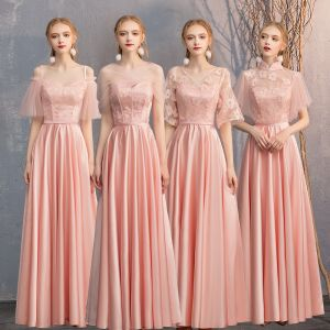 Affordable Pearl Pink Satin Bridesmaid Dresses 2019 A-Line / Princess Sash Appliques Lace Floor-Length / Long Backless Wedding Party Dresses