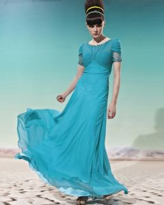 Petal Sleeve Floor Length Round Neck Beading Tencel Empire Woman Evening Dress