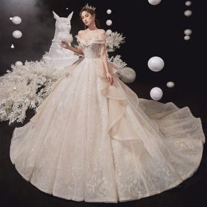 Luxury / Gorgeous Champagne Bridal Wedding Dresses 2020 Ball Gown Off-The-Shoulder Short Sleeve Backless Appliques Lace Beading Glitter Tulle Chapel Train Ruffle